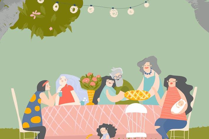 Thumbnail for Cartoon happy family having dinner in blossom gard