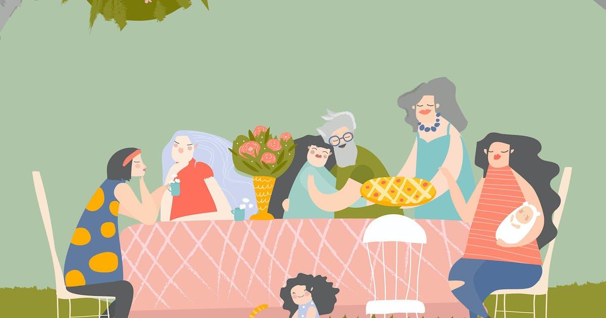 Download Cartoon happy family having dinner in blossom gard by masastarus