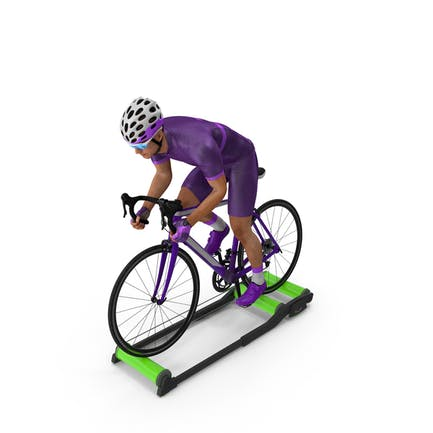 Bicyclist Riding Roller Trainer Platform