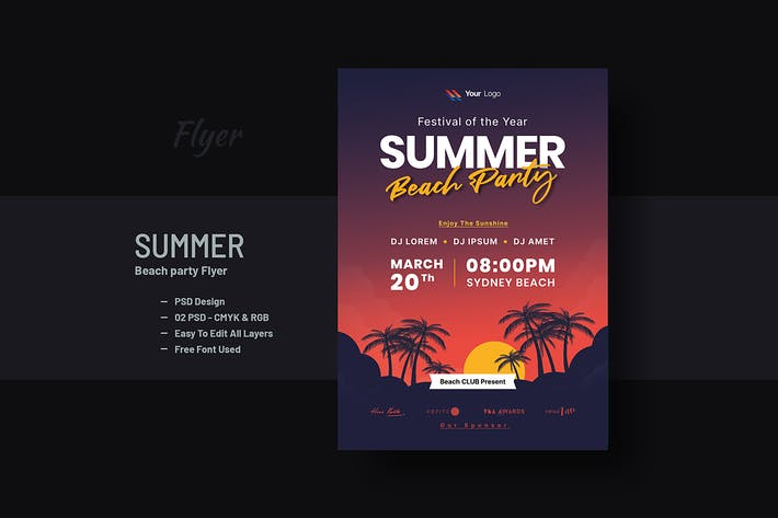 Tropical Summer Beach Party Flyer & Poster