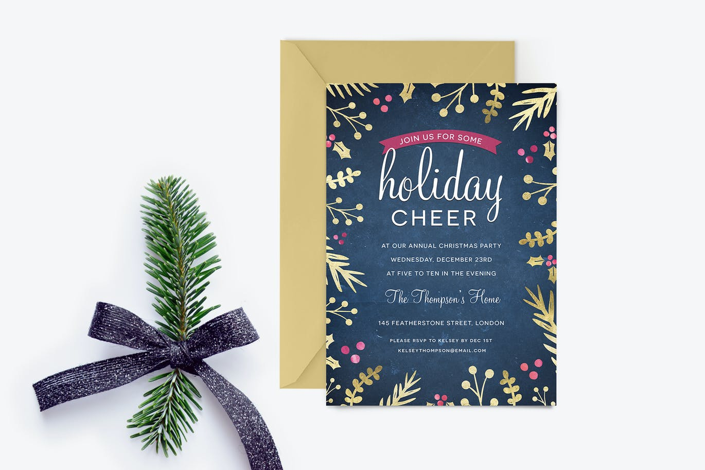 Foil Foliage Christmas Party Invitaiton by ClementineCreative on ...