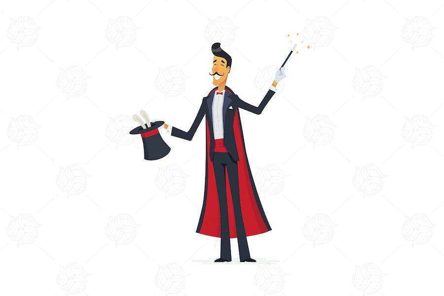Magician doing a hat trick - vector illustration