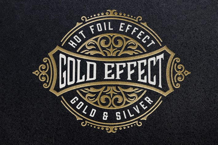 Thumbnail for Gold Foil Paper Pressed Effect Mockup