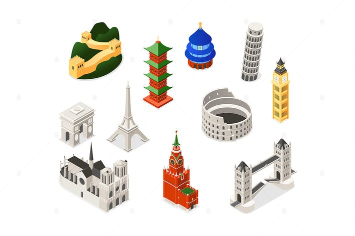 Thumbnail for World Famous Landmarks - isometric illustration
