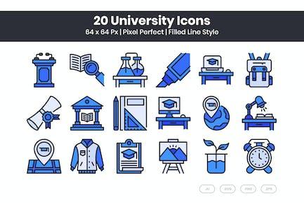 20 University Icons Set - Filled Line