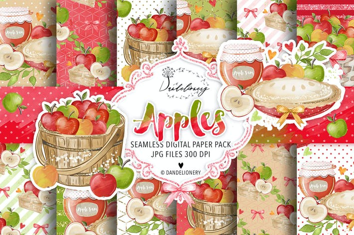Thumbnail for Watercolor Apples digital paper pack