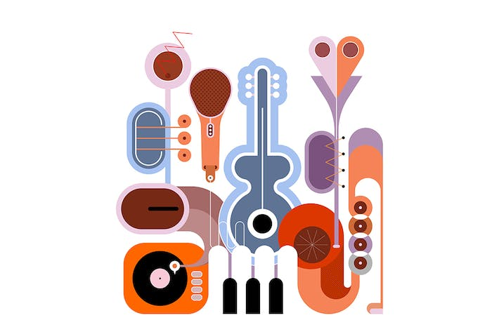Thumbnail for Music Instruments vector design (6 options)