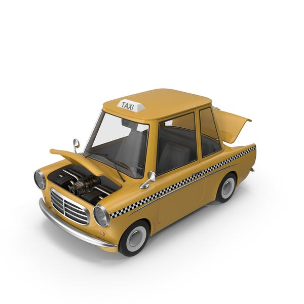 Cartoon Taxi Open Hood