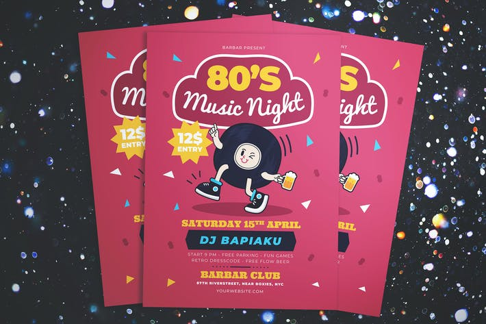 80's Music Night Party Flyer