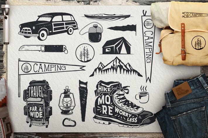 Thumbnail for Vintage Surf-Symbole/Sommer Camping Icons