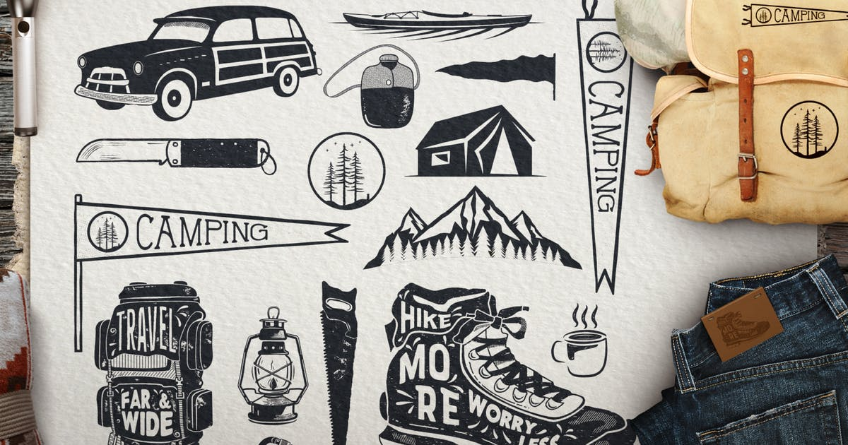 Download Vintage Surfing Icons / Summer Camping Symbols by JeksonJS