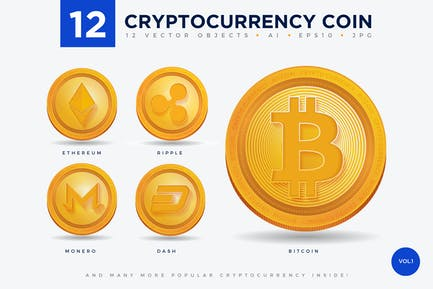 12 Crypto Currency Coin Vector Illustration Set 1