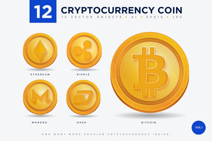 Cover Image For 12 Crypto Currency Coin Vector Illustration Set 1