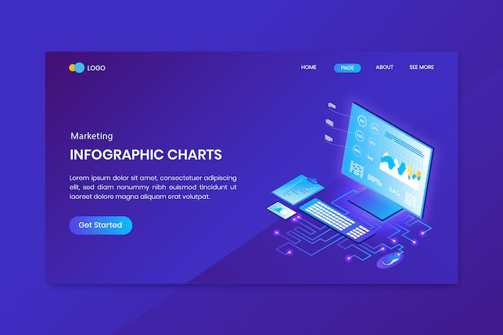 Charts for Strategy Isometric Concept Landing Page