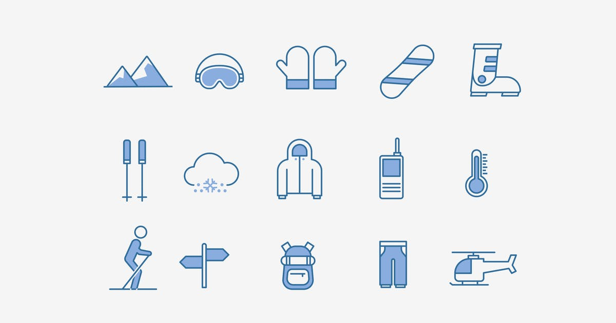 Download 15 Skiing Snowboarding Icons by creativevip