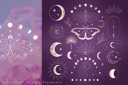 Abstract Mystic Design Elements. Pink Gold. Tattoo