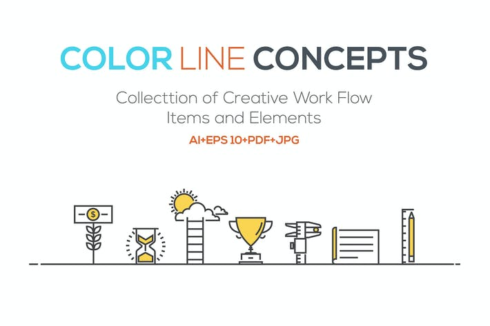 Thumbnail for Set of Flat Line Color Banners Design Concept