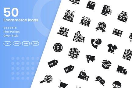 Conjunto de 50 Íconos de comercio electrónico - Glifo