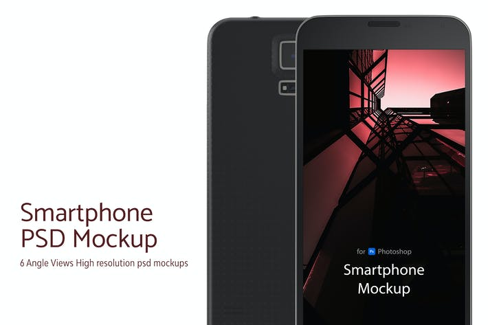 Cover Image For Smartphone PSD Mockup - 6 Angle Views