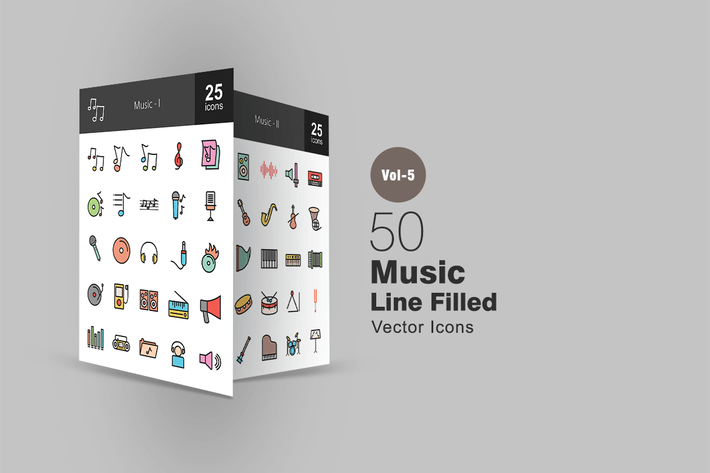 Thumbnail for 50 Music Line Filled Icons