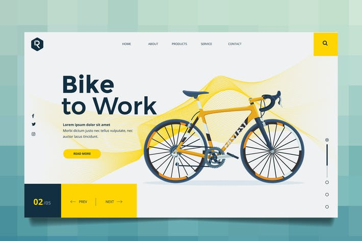 Thumbnail for Bike To Work Web Header PSD & Vector Template