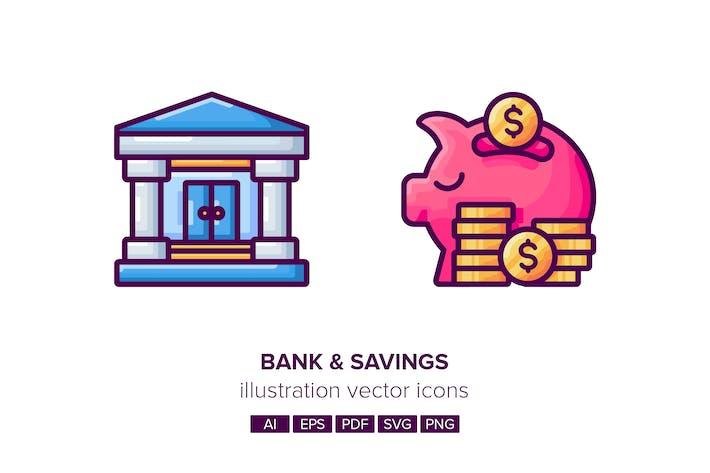 Thumbnail for Bank & Savings Illustration Vector Icons