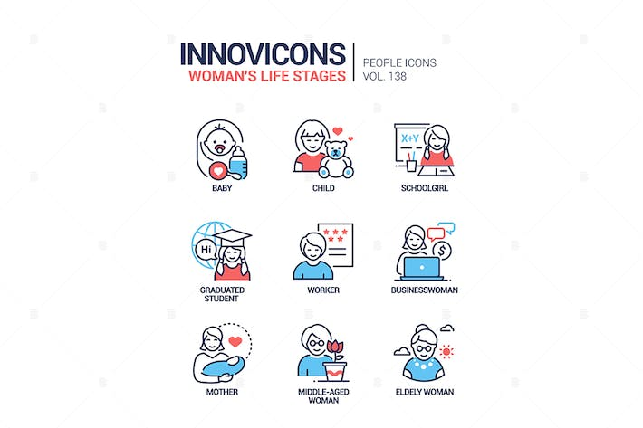 Thumbnail for Life stages of a woman - line design style icons
