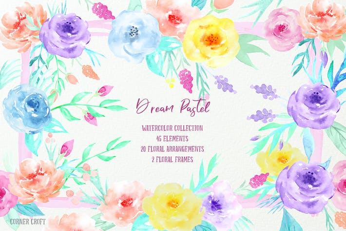 Thumbnail for Watercolor Collection Dream Pastel