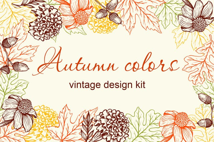 Thumbnail for Autumn Colors Vintage Design Kit