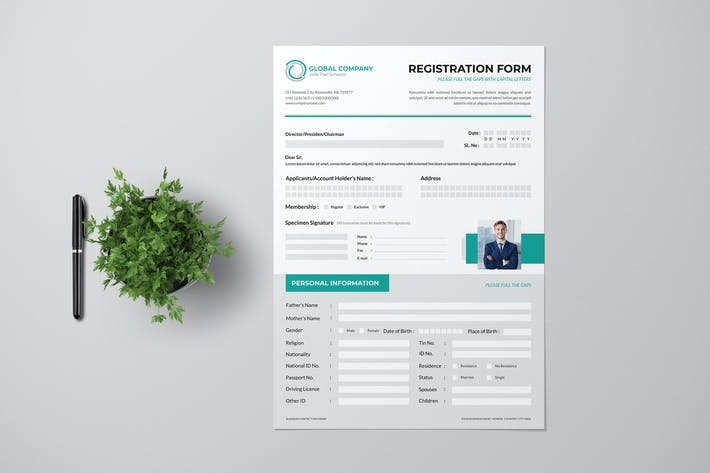 Thumbnail for Clean Registration Form Wit Turquoise Accent
