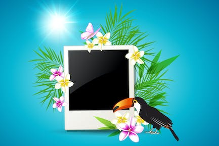 Summer Background with Photo Frame and Toucan