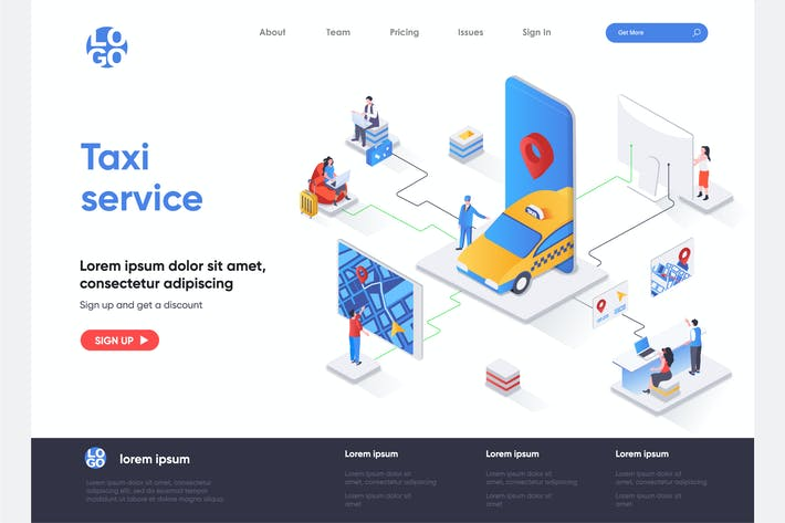 Thumbnail for Taxi Service Isometric Landing Page Template