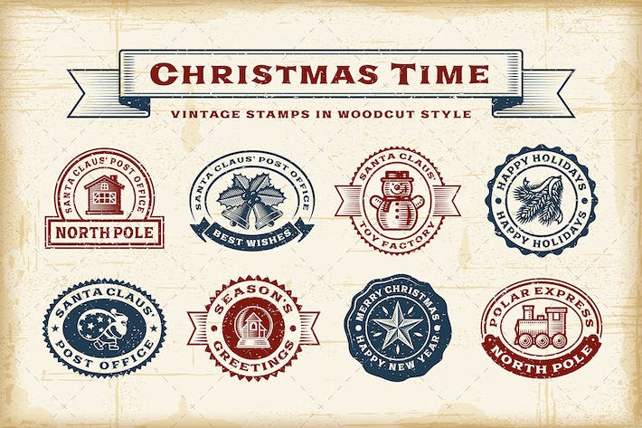 Thumbnail for Vintage Christmas Stamps Set