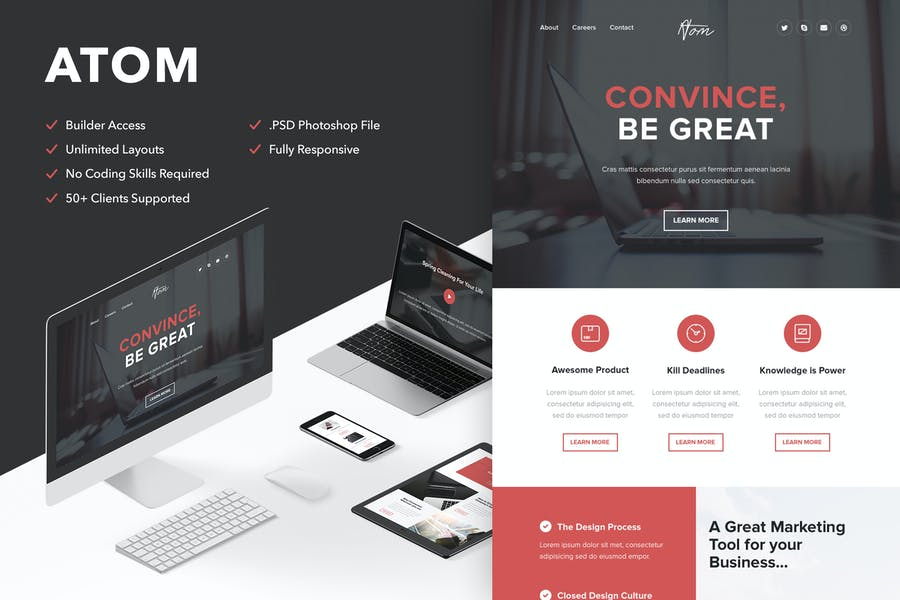 Atom - Responsive Email + Themebuilder Access
