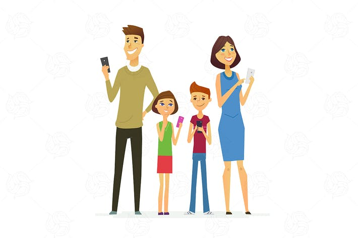 Cover Image For Family - colored modern flat illustration