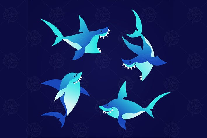 Thumbnail for Shark - modern vector set of flat illustrations.