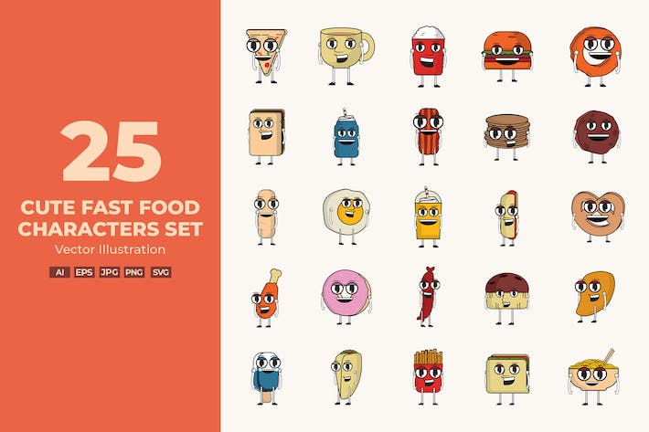 Thumbnail for Cute Fast Food Characters Set