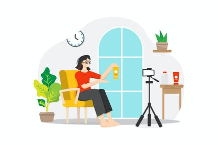 A woman live streaming selling product from home