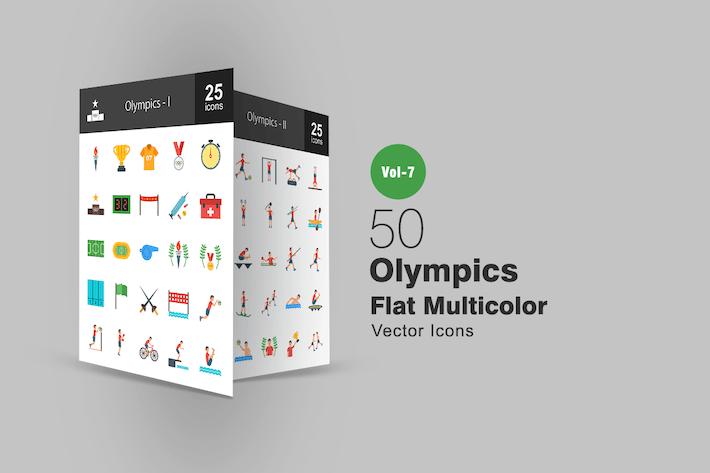 Thumbnail for 50 Олимпийские плоские многоцветные Иконки