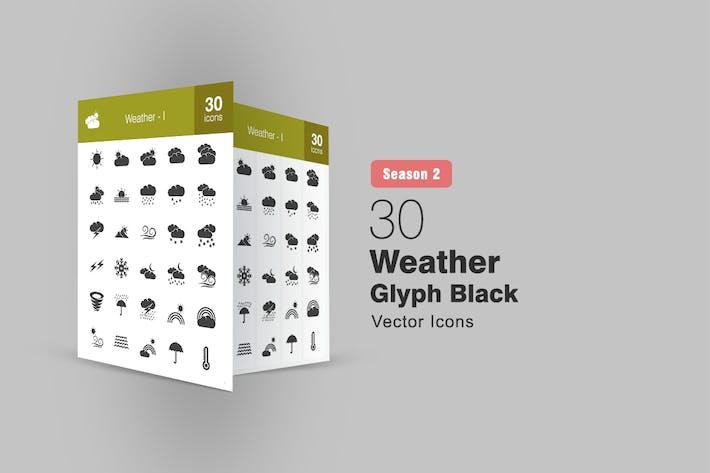 Thumbnail for 30 Weather Glyph Icons Season II