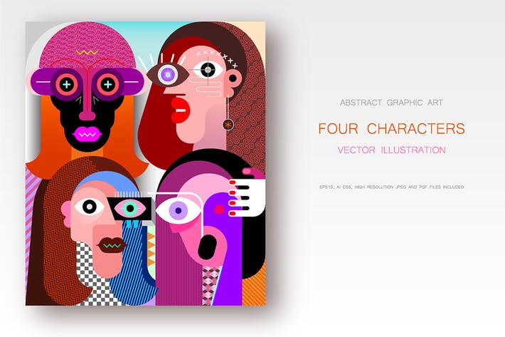Thumbnail for Four Different Characters vector illustration