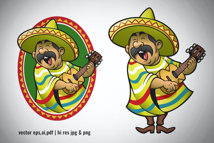 Thumbnail for cartoon set of mexican playing guitar