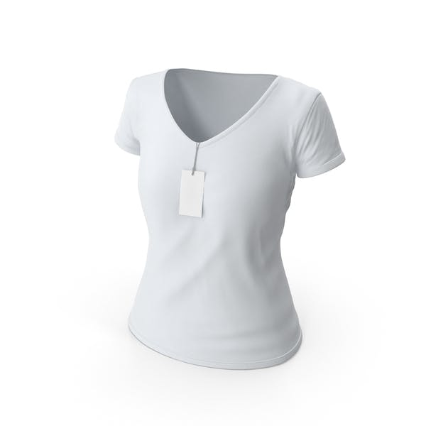 Thumbnail for Female V-Neck Mockup Worn With Tag