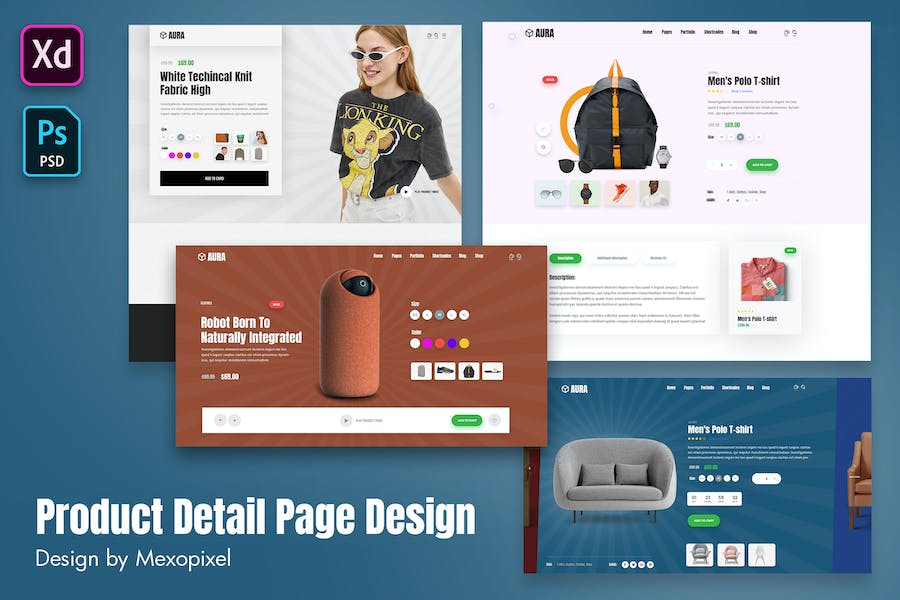 Aura - Product Detail Page Design Layout