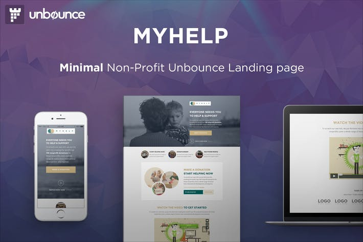 Thumbnail for MyHelp - Modèle de page Unbounce but lucratif