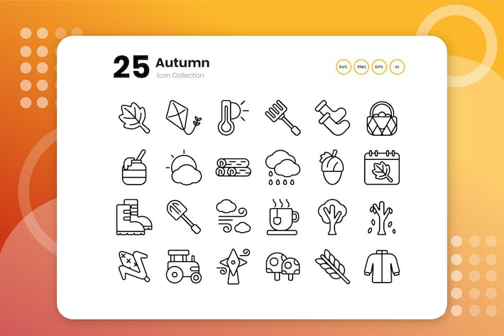 Thumbnail for 25 Autumn Outline Icon