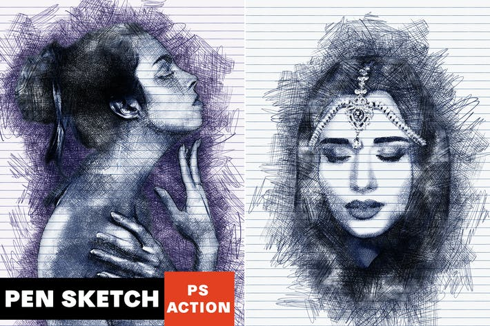 Thumbnail for Действие Photoshop Sketch за пера