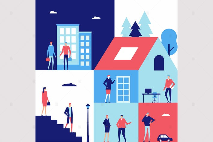 Thumbnail for Business center - flat design style illustration