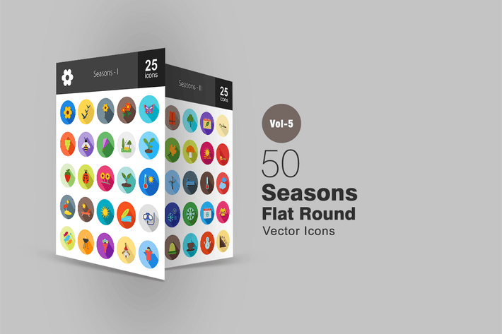 Thumbnail for 50 Seasons Flat Shadowed Icons