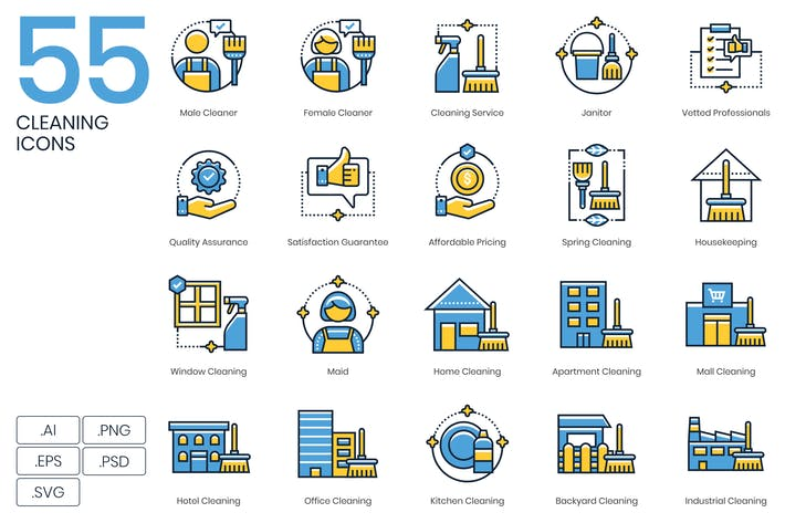 Thumbnail for 55 Cleaning Icons | Kinetic Series